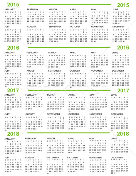 Calendar, New Year   2015, 2016, 2017,  2018 Stock photo © jelen80