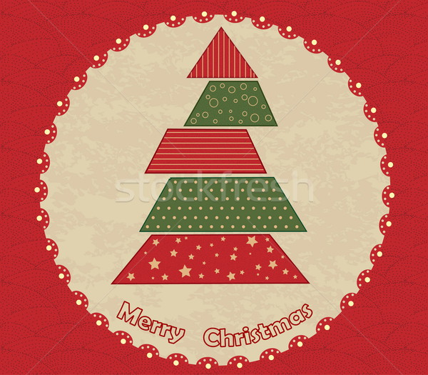Сток-фото: рождественская · елка · круга · зеленый · красный · Vintage · текстуры