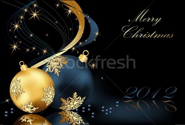 веселый Рождества золото синий звездой подарок Сток-фото © jelen80