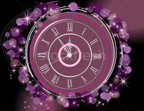 Happy New Year  background  with clock Stock photo © jelen80