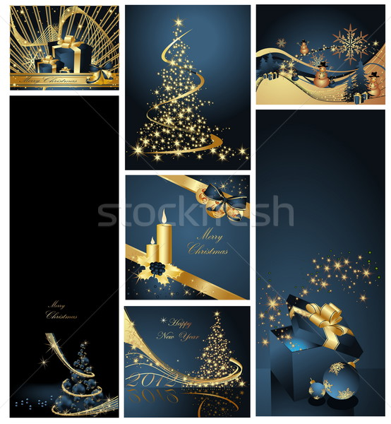 Stock photo: Merry Christmas background collections gold and blue