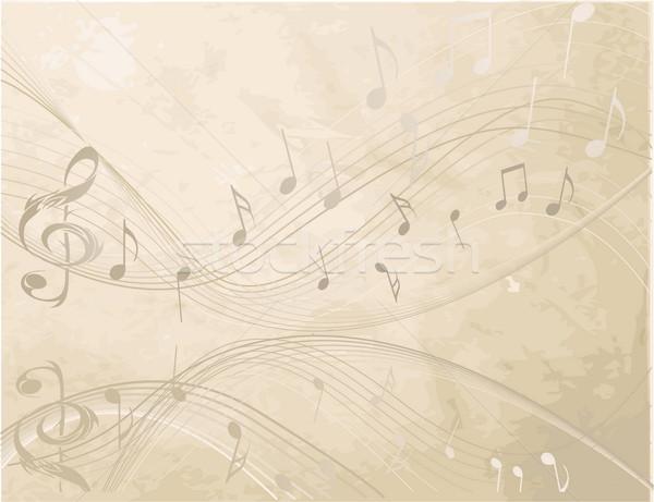 ヴィンテージ 音符 音楽 抽象的な 背景 黒 ストックフォト © jelen80