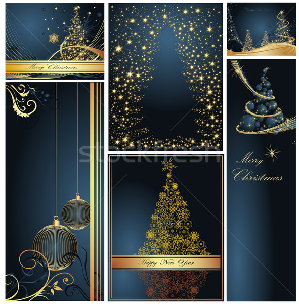 Merry Christmas and Happy New Year collection gold and blue Stock photo © jelen80