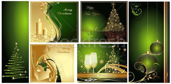 Merry Christmas background collections gold and green Stock photo © jelen80