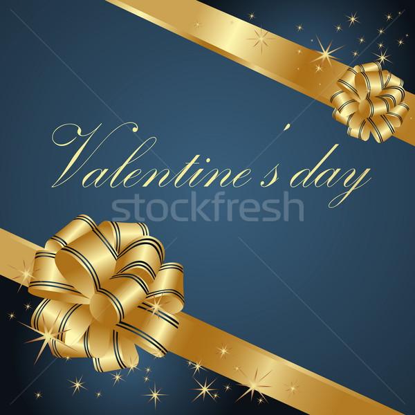 Valentin nap üdvözlőlap arany kék szívek szív Stock fotó © jelen80