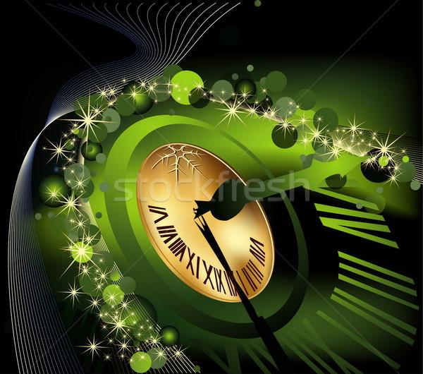 Vidám karácsony boldog új évet arany zöld óra Stock fotó © jelen80