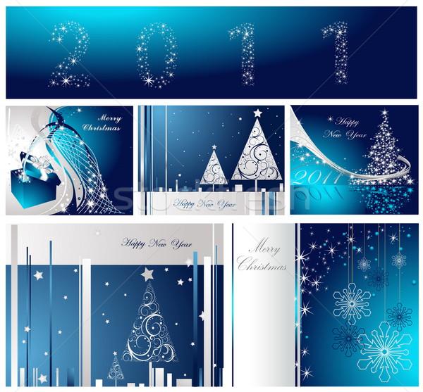 陽気な クリスマス 明けましておめでとうございます コレクション 銀 青 ストックフォト © jelen80