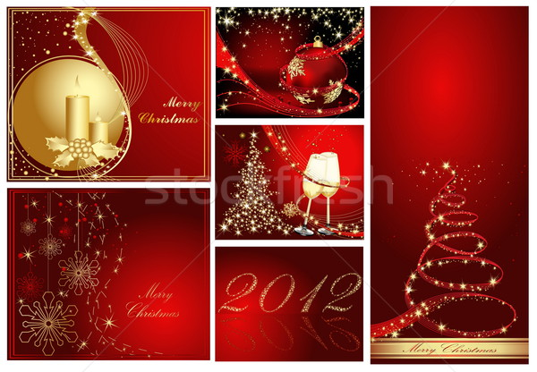 Merry Christmas and Happy New Year collection gold and red Stock photo © jelen80