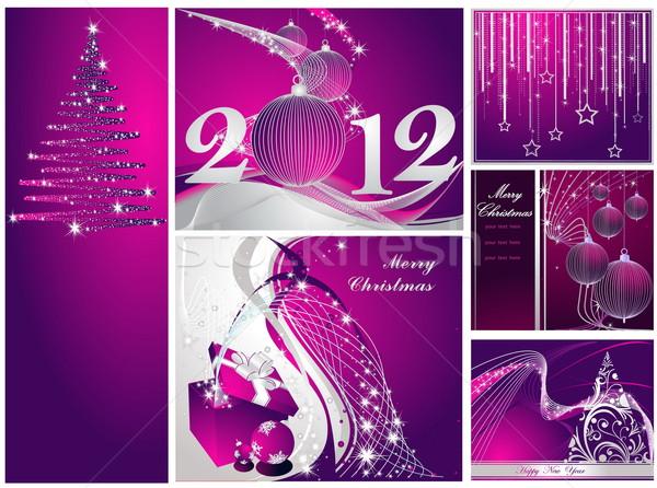 веселый Рождества с Новым годом коллекция серебро фиолетовый Сток-фото © jelen80