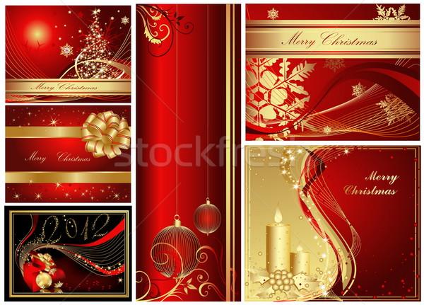 Vidám karácsony boldog új évet gyűjtemény arany piros Stock fotó © jelen80