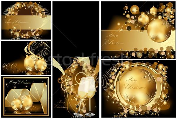 ストックフォト: 金 · 陽気な · クリスマス · ワイン · 抽象的な · 光