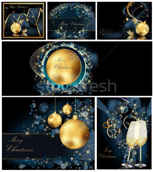 Vidám karácsony arany kék absztrakt fény Stock fotó © jelen80