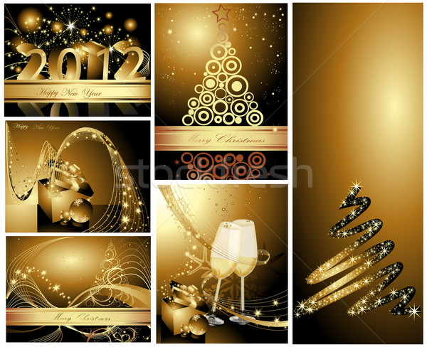 Gold Merry Christmas and Happy New Year collection  Stock photo © jelen80