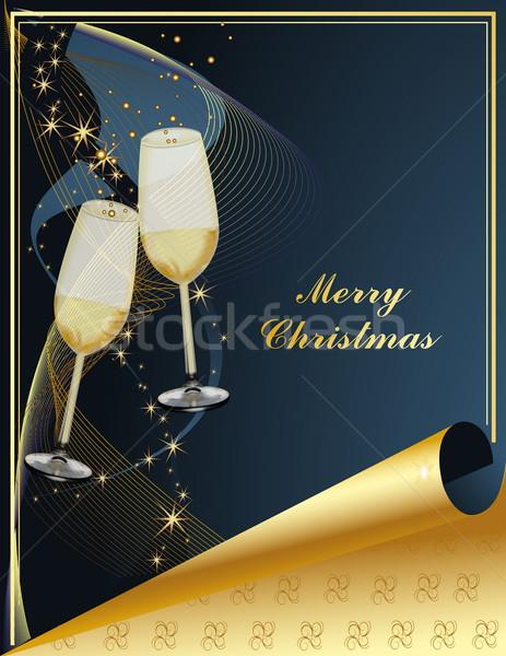 веселый Рождества золото синий свет стекла Сток-фото © jelen80