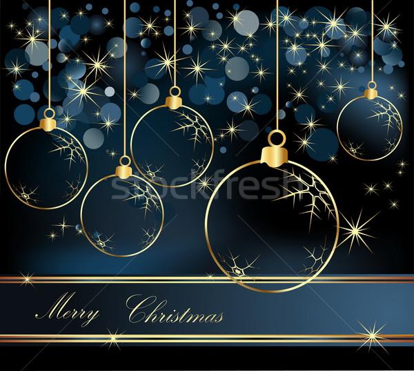 веселый Рождества золото синий зима звездой Сток-фото © jelen80
