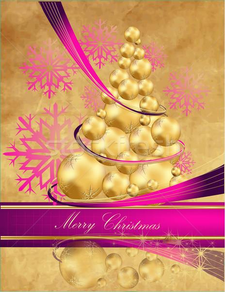 рождественская елка золото фиолетовый свет зима время Сток-фото © jelen80
