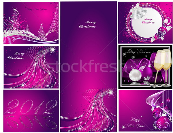 Merry Christmas and Happy New Year collection silver and violet Stock photo © jelen80