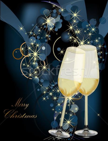 Karácsony arany kék fény üveg hó Stock fotó © jelen80