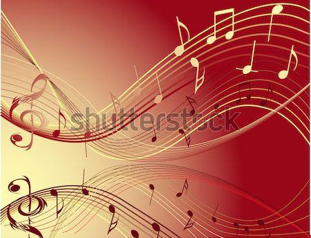 Hangjegyek zene háló kő fekete arany Stock fotó © jelen80