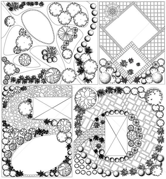 ベクトル 風景 計画 シンボル 黒白 家 ストックフォト © jelen80
