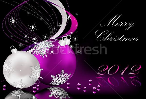陽気な クリスマス 銀 バイオレット 光 星 ストックフォト © jelen80
