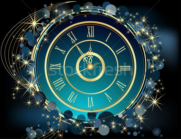 Gold Happy New Year  background  with clock Stock photo © jelen80