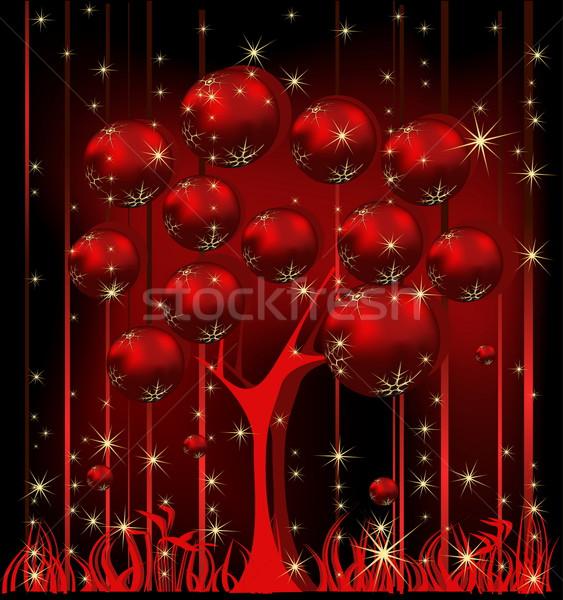 Karácsonyfa piros arany tél csillag ajándék Stock fotó © jelen80