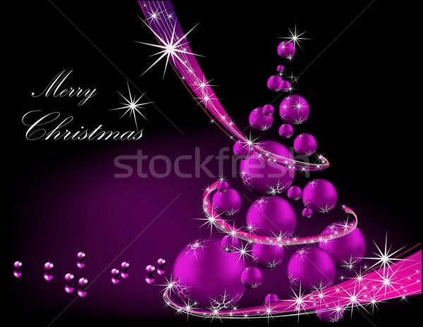 Karácsonyfa ibolya ezüst fény csillag ajándék Stock fotó © jelen80