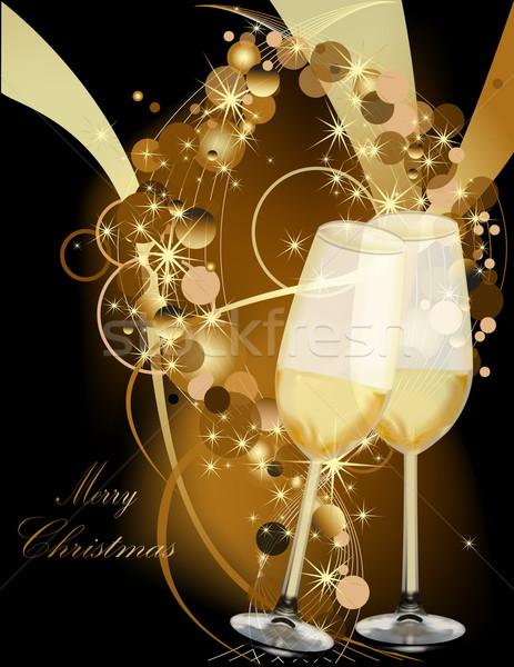 Arany karácsony fény üveg hó jég Stock fotó © jelen80