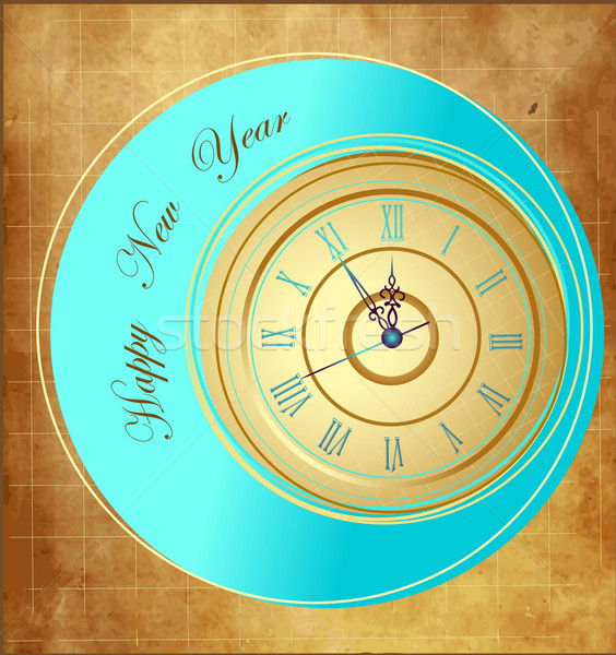 Vintage Happy New Year background with clock Stock photo © jelen80