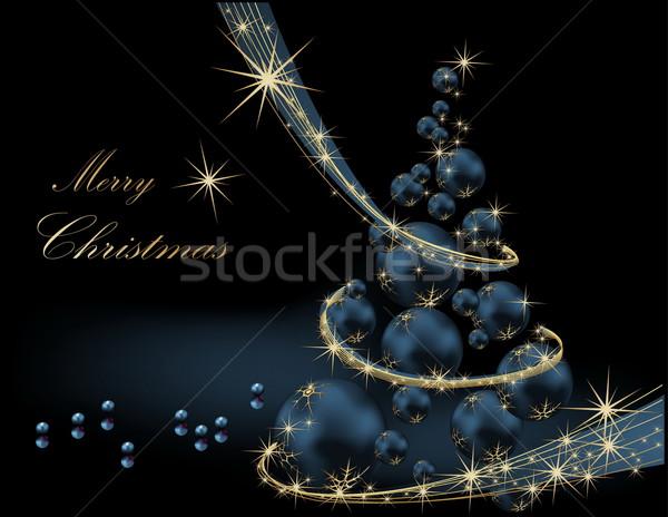 рождественская елка золото синий звездой подарок тень Сток-фото © jelen80