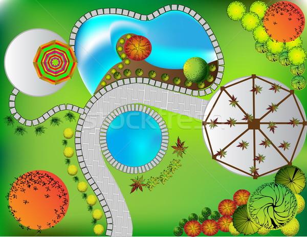 Terv kert szimbólumok fa víz fák Stock fotó © jelen80