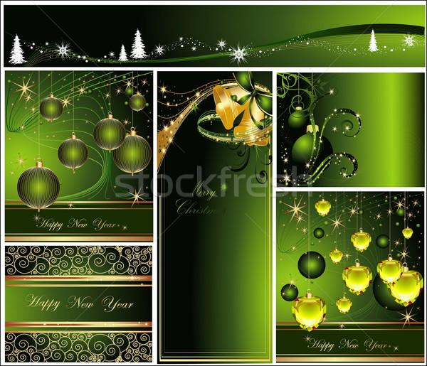 Merry Christmas and Happy New Year collection gold and green Stock photo © jelen80