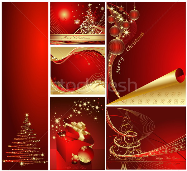 陽気な クリスマス 明けましておめでとうございます コレクション 金 赤 ストックフォト © jelen80