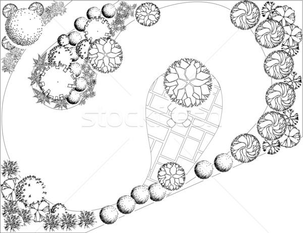 Terv kert feketefehér szimbólumok fa víz Stock fotó © jelen80