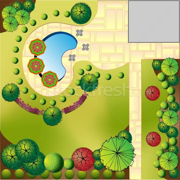 風景 計画 庭園 水 木材 木 ストックフォト © jelen80