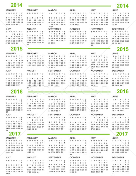 Calendar, New Year   2014, 2015, 2016, 2017 Stock photo © jelen80