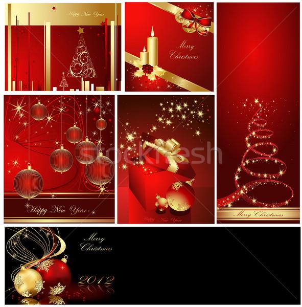 веселый Рождества золото красный аннотация свет Сток-фото © jelen80