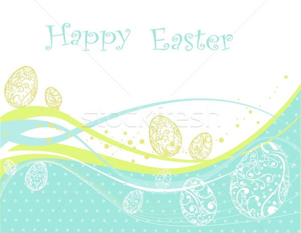 Kellemes húsvétot kék zöld húsvét étel boldog Stock fotó © jelen80
