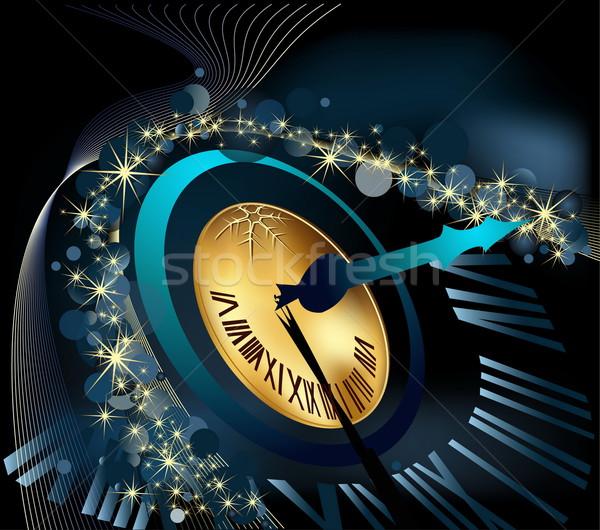 веселый Рождества с Новым годом золото синий часы Сток-фото © jelen80