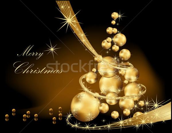 рождественская елка золото черный звездой подарок зеркало Сток-фото © jelen80