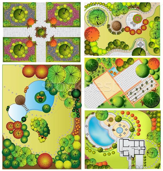 Tájkép terv szimbólumok ház építkezés terv Stock fotó © jelen80