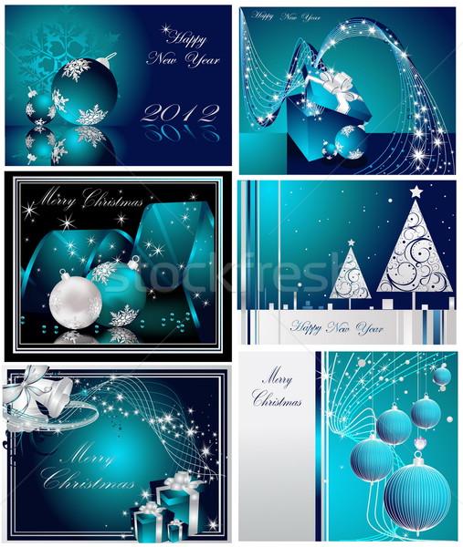 Vidám karácsony boldog új évet gyűjtemény ezüst kék Stock fotó © jelen80
