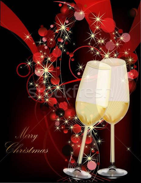 Рождества золото красный свет стекла снега Сток-фото © jelen80