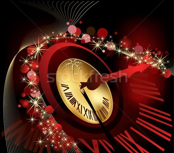ストックフォト: 陽気な · クリスマス · 明けましておめでとうございます · 金 · 赤 · クロック