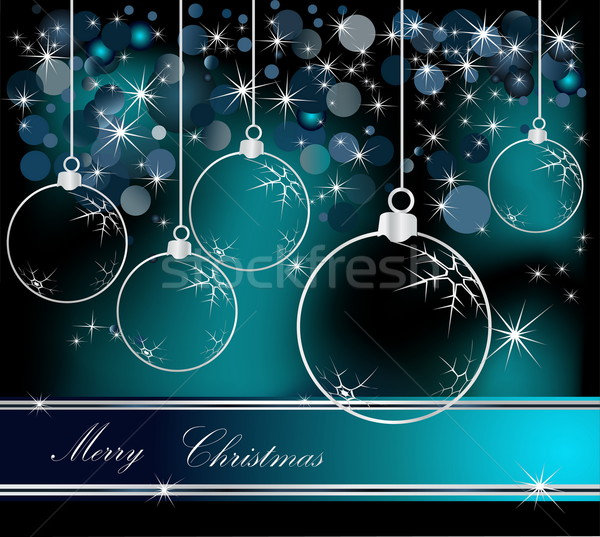 Merry Christmas  background silver and blue Stock photo © jelen80