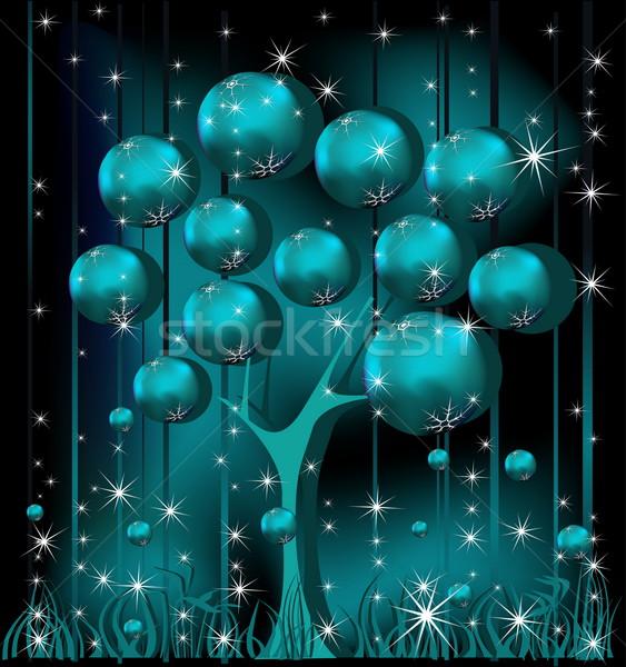 Karácsonyfa kék ezüst tél csillag arany Stock fotó © jelen80