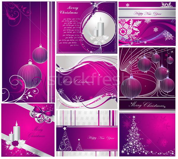 Vidám karácsony boldog új évet gyűjtemény ezüst ibolya Stock fotó © jelen80