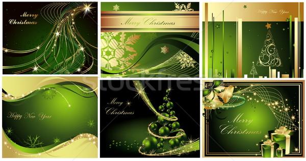 陽気な クリスマス 明けましておめでとうございます コレクション 金 緑 ストックフォト © jelen80