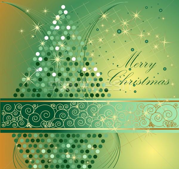 веселый Рождества зима звездой золото подарок Сток-фото © jelen80